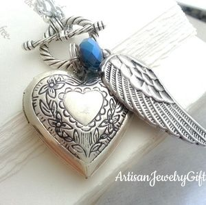 Silver Heart Locket Angel Wing Birthstone Necklace